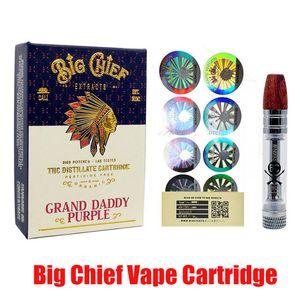 Big Chief Vape Cartucho Pen carrinho com embalagem Wood Tip 0,8 ml Tanque Grosso Oil Ceramic bobina 510 Battery vaporizador Atomizador Em armazém