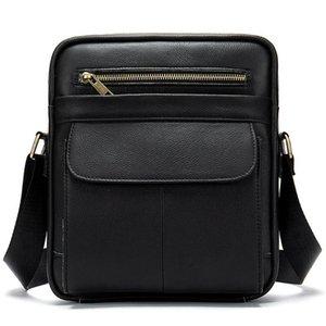 Men Leather Laptop Business Handbag Crossbody Bag with Shoulder Starp Black Male Travel Office Leather Shoulder Bag