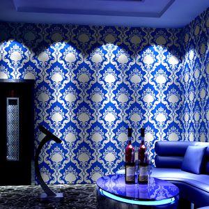Custom European wallpaper high-end atmosphere ktv reflective 3d flash karaoke theme box corridor gold foil wallpaper