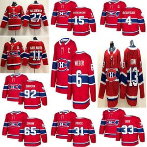 Montreal Canadiens clássico Jersey 33 Patrick Roy Jersey 27 Alex Galchenyuk 31 Carey Price 13 Max Domi Hockey Jerseys costurado Mens