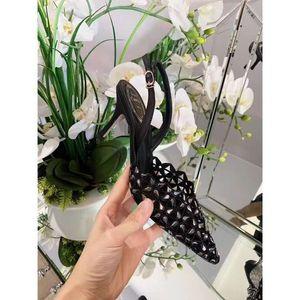 Qualité officielle Rene Caovilla Chaussures New Release cristal Weave en peau de mouton Pointu 75mm talon haut d'orteil dentelle René Caovilla Sandales
