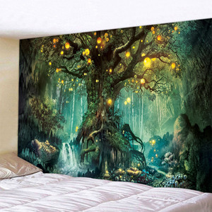 High quality 3D Forest Tapestry Nature Tree Art Moon Large Carpet Wall Hanging Tapestry Sofa background wall decor household hanging picture