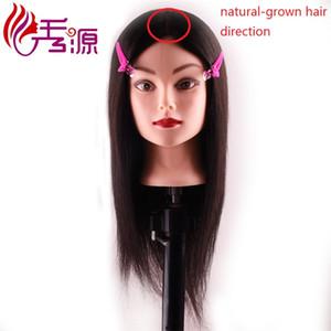 100% Cabello humano Negro natural Entrenamiento Peluquería Muñeca Maniquíes Cabeza de entrenamiento Dirección del cabello crecido natural Cabeza de peinado procesional