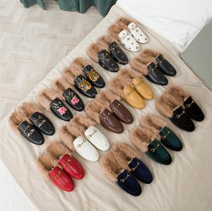 Designer des femmes des hommes pantoufles de fourrure en cuir chausson fourrure de luxe velours Princetown mocassins appartements avec horsebit grande taille de nombreux styles EUR34-46