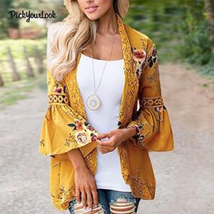 PickyourLook Kadınlar Plus Size Hırka Uzun Kollu Baskı Dantel Hırka Sonbahar Patchwork Lady Çiçek Kimono OUTWEAR Tops