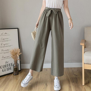 2020 New Summer Women Korean Style Chic Bow Tie Elastic High Waist Trousers Lady Solid Cotton Drawstring Wide Leg Trousers T202
