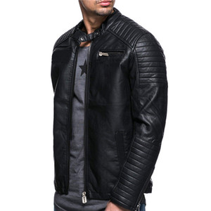 2019 Cotton Flax foreign trade European and American style fashion personality male windproof motorcycle leather jacket 4XL
