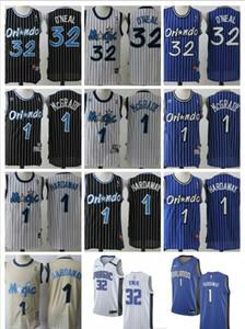 New Mens OrlandoMagicnbaShaquille 32 O'Neal Penny 1 Hardaway Tracy 1 McGrady Throwback Basketball Jerseys White Blue