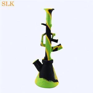 Zusammenklappbare Maschine Gun Bubbler tragbare unzerbrechliche Shisha Shisha Bong Silikon AK-47 Wasserpfeife Freies Verschiffen zum Smokeshop