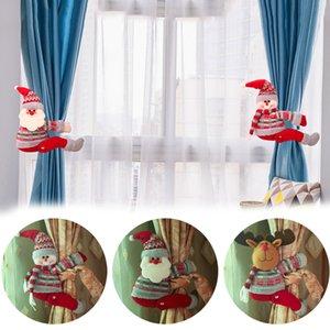크리스마스 커튼 버클 홀더 산타 클로스 눈사람 엘크 커튼 넥타이 다시 침실 후크 패스너 클램프 크리스마스 홈 장식