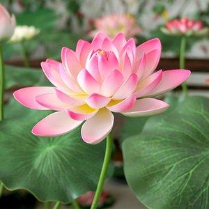 1 Bouquet Artificial Plastic Lotus Water Lilys Silk Flowers Leaves Pond Plants Ornament Home Garden Vase arrangment Table Hotel Decoration