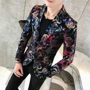 Afiada Imprimir Prom Suit Jacket Mens One Button Blazer 2018 Autumn Sllim Fit Blazer Mascculino Ouro Vermelho Azul Imprimir Masculino