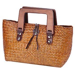 Versão tailandesa do saco tecida mão da palha do pão do tecido Saco de madeira das senhoras retros da bolsa do punho de madeira