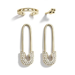 Unique Design Imitation Pearl CZ Paperclip Safety Pin Stud Earring for Women Girls Gold Punk Body Piercing Earrings Accessories
