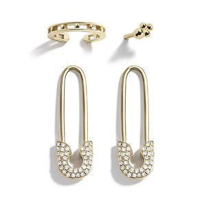 Pendiente del perno prisionero del Pin del diseño único de perlas de imitación CZ Paperclip seguridad para las mujeres de las muchachas de oro punky Piercing del cuerpo Pendientes Accesorios