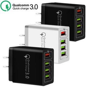 30W 4 portas USB QC3.0 Rápido carregador de parede QC 3.0 carregamento rápido telefone celular carregador de parede Poder Adpater Para Samsung HTC
