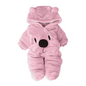 Arloneet الوليد الطفل أفخم و المخملية الدافئة رومبير فتاة بوي الصلبة الكرتون الدب المخملية مقنع بذلة رومبير الملابس G0509 J190525