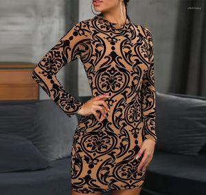 Bodycon Kleider Mode Rundhalsausschnitt Langarm Frauen Kleider Frühling dünne Frauen Kleidung Weiblich Digitaler Printed