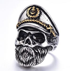 Obligación Esqueleto Militar Oficial del Ejército Capitán de la Armada Calavera Anillo Punk Vintage Gótico Biker Hip Hop Hombres Mujeres Joyería