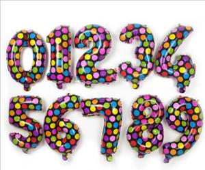 Globos redondos Dots aluminio de la capa Número Globos Coloridos niños Juguetes de Navidad feliz cumpleaños regalos de boda Decoraciones 16inch TLZYQ1068