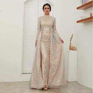 Sparkle Langarm hohe Ansatz Abendkleider Funkeln abnehmbarer Zug Arabian prom Kleid Weibliche Partei-Kleid Reale Abbildungen afrikanische Kleider