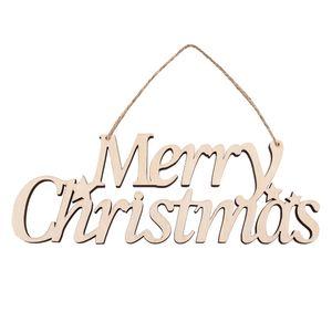 Feliz Natal decorações do feriado enfeites de madeira monograma letras pingentes de madeira maciça pendurado festa indoor venda inteira biodegradble