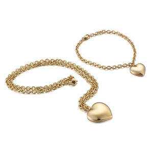 New Arrivals Heart Shaped 18k Gold Plated Women 316 stainless steel jewelry Sets Necklace and Bracelet for Mother's Day Gift