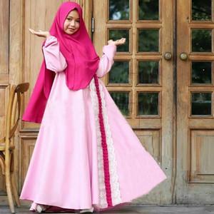 Этническая одежда 2 шт. Набор Мусульманские девочки Принцессы Платье Детские дети Абая хиджаб Химар Никаб Burqa Jilbab Исламская детская молитвенное платье Kaftan Rama