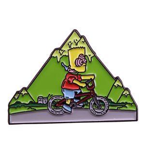 Fahrrad Tag Bart Simpson Brosche Fitness-Übungen Hutnadel Bergabenteuer Abzeichen lustig niedliches Cartoon-Geschenk