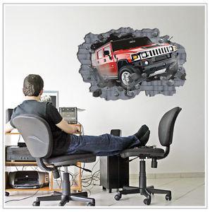 3D percée voiture mur Sticker mural amovible Art Mural Accueil Décor, PHD