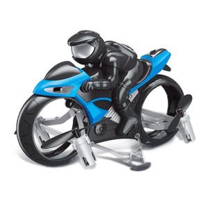 2 en un mando de control Transformble Quadcopter juguete de la motocicleta, Modo Dual Tierra Aire aviones no tripulados, 360 ° flip luces de colores, regalos de Navidad Kid Boy, 2-1