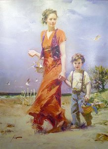 Pino Daeni A Day at the Beach Home Decor Handpainted Oil Painting On Canvas Wall Art Canvas Pictures 200606