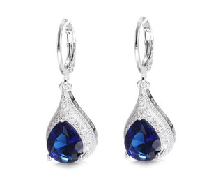 Fast Free shipping Fashion Trend Drop Earrings Diamond Inlay Shiny Sapphire Crystal Stud Ear Accessories women earring Wholesale 2pair lot