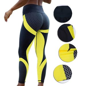 8 Farben Neuer Fitness Sport Leggings Frauen Mesh-Druck mit hoher Taille Legins Femme-Mädchen-Trainings-Yoga-Hosen Push Up elastische dünne Hosen