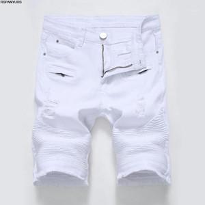 pantalones casuales 2018 nuevos hombres de la cremallera delgada franja agujero negro para hombre de los pantalones cortos playing1 blanco