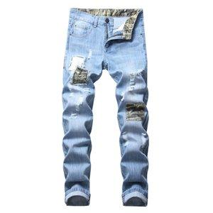 Erkek Yeni Geliş Tasarımcı Kamuflaj Patchwork Moda Jeans Artı boyutu Jeans Slim Fit Erkek Biker Kulübü Denim Pantolon
