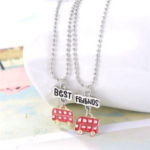 "2PCS Pair ""Best Friends"" Kids Necklaces Red car Pendant Kids Necklace For Children Friendship BFF Necklace Jewelry"