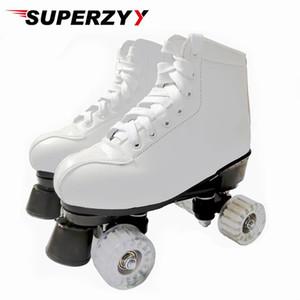 أبيض أسود الرول الزلاجات Womam الرجال الكبار الجلود الاصطناعية أحذية Patins في الهواء الطلق مع شفاف PU العجلات