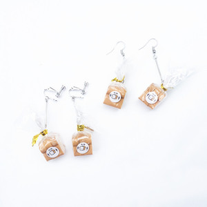 New Creative Handmade Mini Simulation Food Toast Dangle Earrings for Women Cute Bread Drop Earrings Funny Jewelry Gift