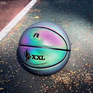 DXXL 3o holográfica luminosa de baloncesto del arco iris 3M refleja pelota de baloncesto negro luz Importado PU tamaño cubierta baloncesto al aire libre 7