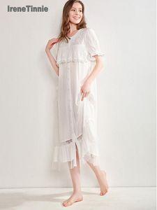 Vintage Art-Spitze gestickte Nightgowns Frauen Lolita Kleid Prinzessin Sleep Victorian Negligée Lounge Nachtwäsche