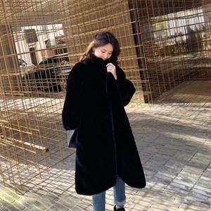 Escudo invierno de las mujeres de lana de oveja de piel artificial de la manera floja Coats Espesar caliente señoras de gran tamaño flojo femenino felpa Cardigan Outwear XS-L
