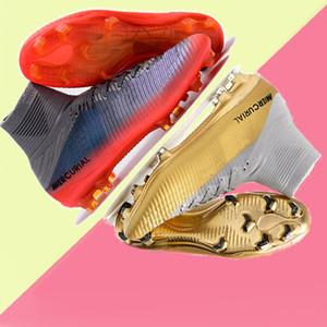 2019 nuova moda bianco FG V scarpe da calcio per bambini Scarpe da calcio CR7 oro Scarpe da calcio Mercurial Superfly Cristiano Ronaldo