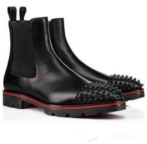Ankle Boots Luxo Moda Mulheres Homens Botas Red Design de Base saltos baixos de couro genuíno camurça com rebites Melon Spikes Plano Curto Cavaleiro