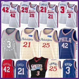 Philadelphia 76ers Pallacanestro Jersey Joel 21 Embiid Ben 25 Simmons Al Horford 42 Allen Iverson 3 2020 nuovo NCAA Mens gioventù scherza il pullover
