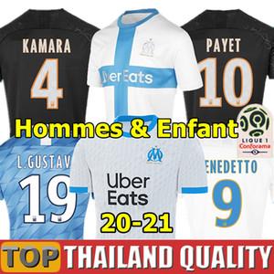 20 21 Olympique De Marseille maglie da calcio 2020 2021 PAYET THAUVIN BENEDETTO Set di magliette da calcio OM KAMARA GUSTAVO 120 ANNI Uomini Kit per bambini uniformi