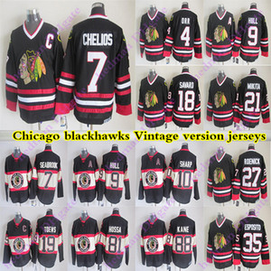 Masculino Chicago Blackhawks Versão Vintage Jerseys 88 Kane 19 Toovs 7 Seabrook 81 Hossa 10 Sharp 21 Mikita 18 Savard CCM Hockey Jersey