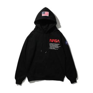 NASA Hoodie Hip Hop Long Sleeve Herren Stylist Pullover Schwarz Weiß Pullover Männer Frauen Hoodie Größe M-3XL