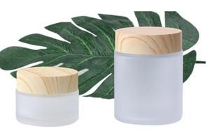 Vape beyaz buzlu cam kavanoz ahşap tahıl kapak ile 30g 100g kozmetik krem balmumu konteyner kavanoz stash gıda depolama özel OEM baskı logo