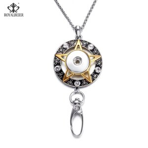 ROYALBEIER Working Card Pendant Necklace 18mm Snap Button Jewelry Fits DIY Snap Jewelry For Employee ID Card Hanger XL0176